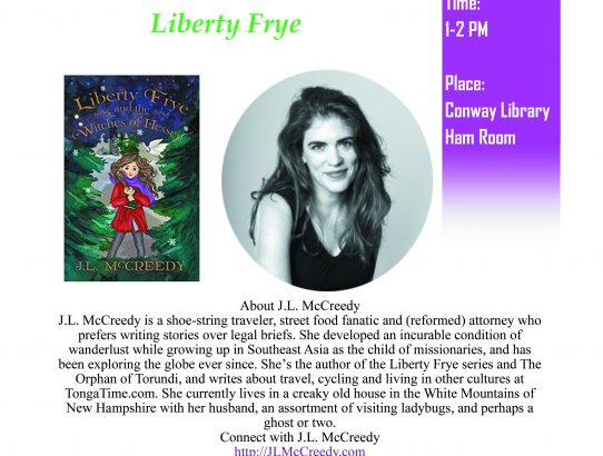 Join me at the Conway Library this Friday, July 26!